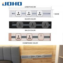 JOHO 60CM Multi-Functional EU Plug Socket Aluminum Wall Power Outlet Socketbar 8000W 250V For Living Room Bedroom Office