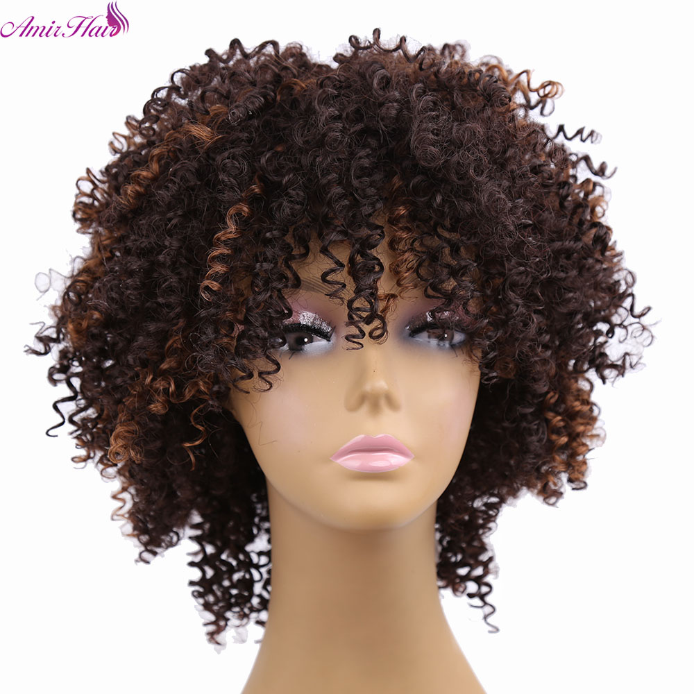 Amir Hair 8inch Kinky Curly Synthetic Hair Afro Wigs With Short Ombre Brown Jerry Curl Black Wigs For Women  Free Shipping