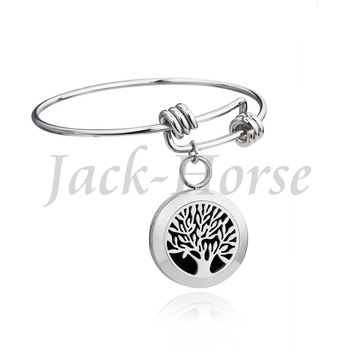 316L Stainless steel aromatherapy diffuser bracelet adjustable wire bangle 20mm locket charm bracelet