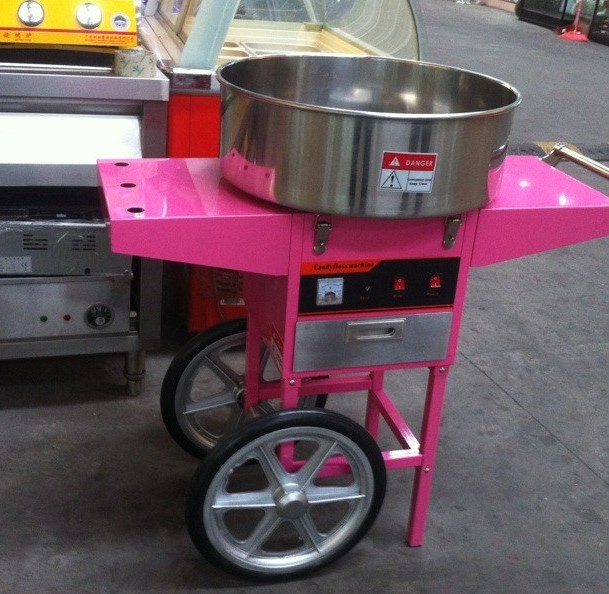 free shipping with ce electric cotton candy machine with cart commercial candy floss machine good quality - Cotton Candy Machines
