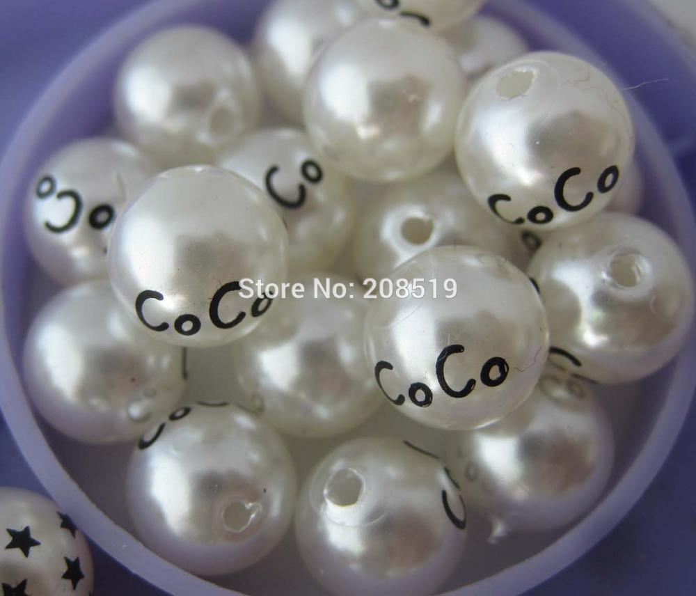 PNB0007 печатные жемчужные бусины для одежды 100 шт 10 мм кремовые пластиковые бусины со средним Отверстием Аксессуары для одежды - Цвет: coco