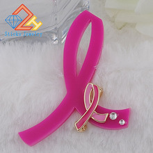 Fight AIDS Acrylic and Zinc Alloy Enamel Brooch Pink Ribbon Promotional Gifts  to Prevent Breast Cancer Free Shipping
