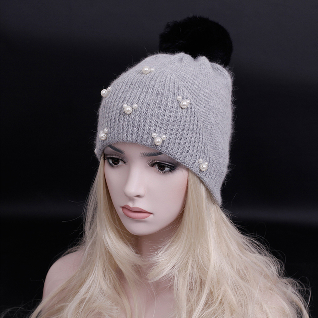 2016 Winter High quality wool knitted hat with Rabbit hair pompoms thick cashmere Skull lady Beanies caps women warm snow caps