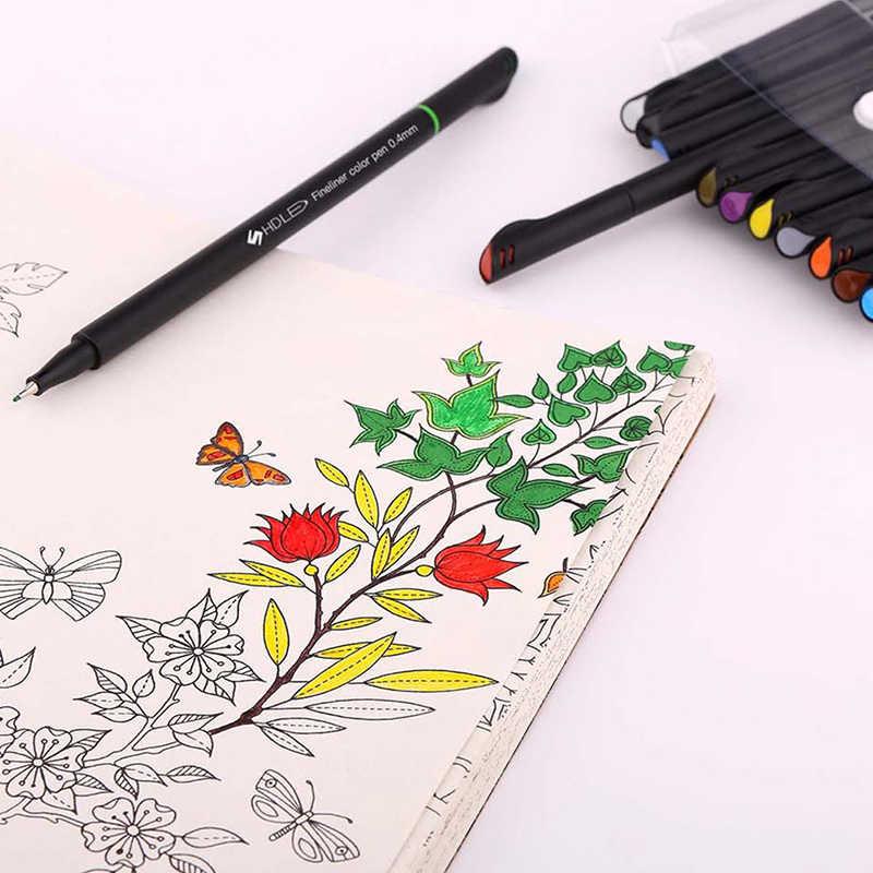 12 adet/takım Renkli 0.4mm Fiber işaretleyici kalem İşaretleyiciler Kroki Çizim Sanat Profesyonel Keçe Ucu Ince Kanca Hattı Kalem güzel nokta astar