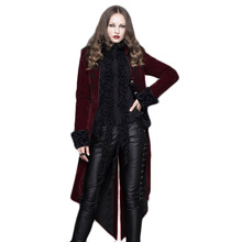 Black Red Gothic Steampunk Windbreaker Women Autumn Winter Long Sleeve Jacket Female Fashion Elegant Coat Large Size XXXL