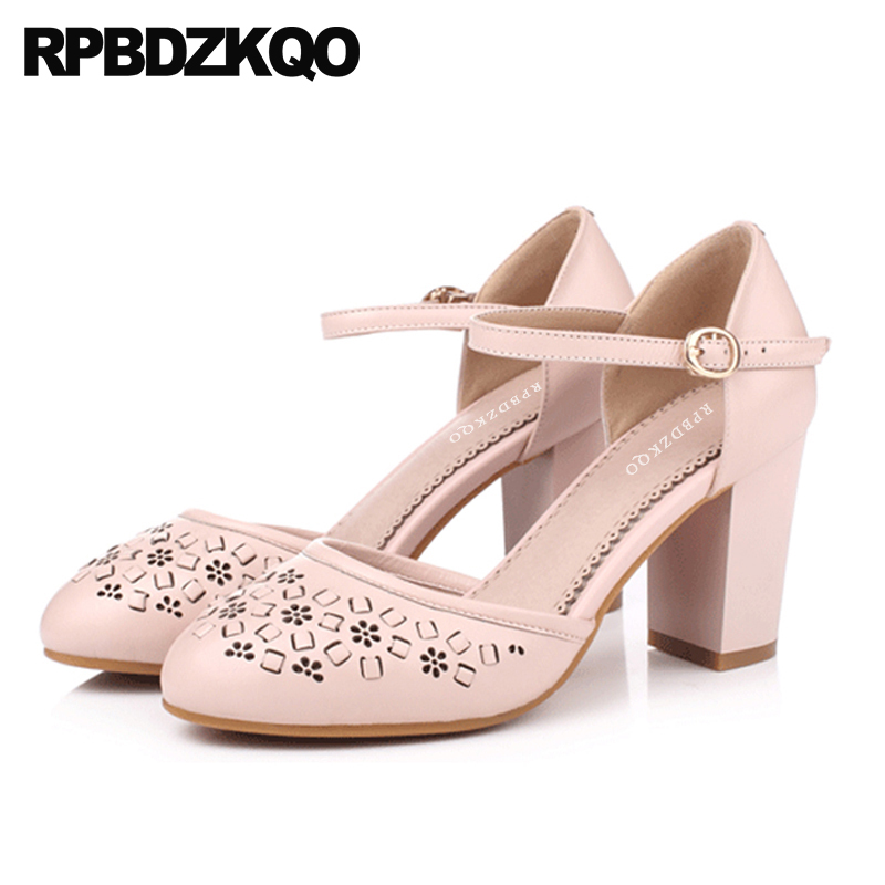 High Heels Ankle Strap Flower Women Sweet Lolita Shoes Sandals Round Toe Floral Genuine Leather Japanese Thick Pumps Hollow Out sweet hollow out spaghetti strap cover up tank top for women
