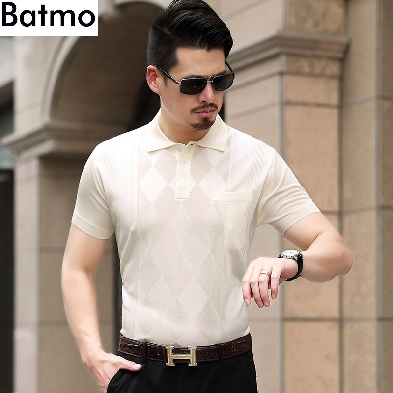 Batmo 2018 new arrival summer silk 100% Breathable printed casual loose navy blue   polos   shirt men 3 color