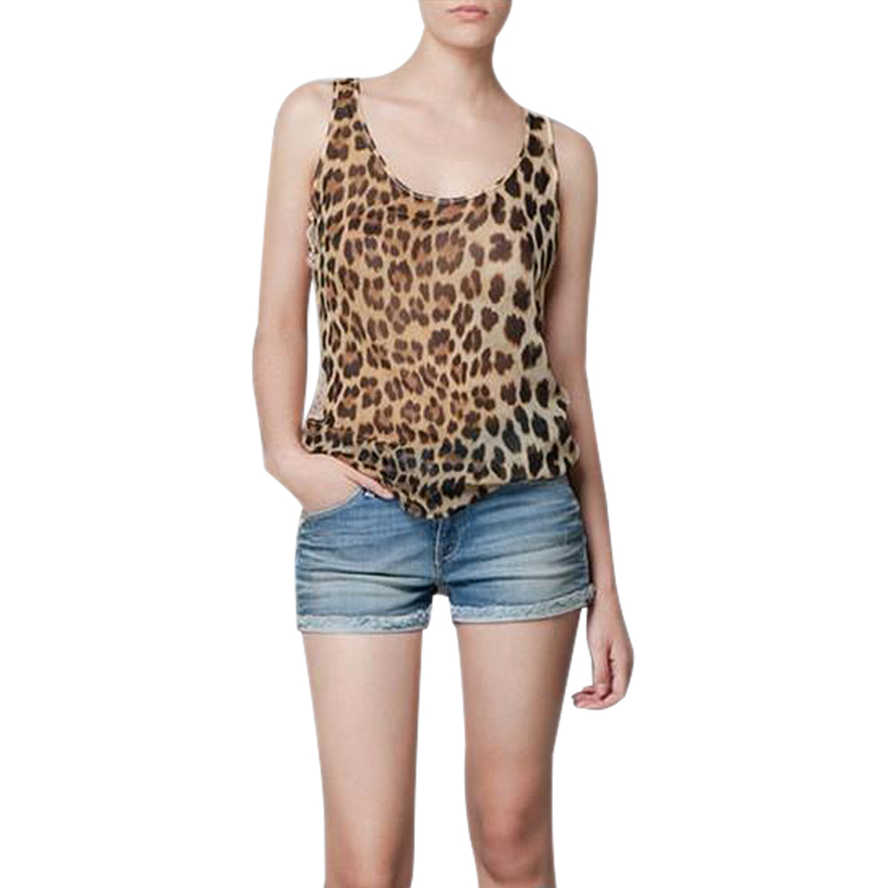 POPULAR HOT  Women's Chiffon Lace Patchwork Vest  Leopard Print  Freeshipping Top Girls' Clothes Stitching Leopard Vest