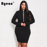 Ryeon Autumn Winter Spring Women Sexy Dress Big Size Bodycon Mesh Long Sleeve Tunic Party Elegant