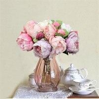 Ślub kwiat Fałszywy bukiet róż Prawdziwy dotyk PU piwonia 8 głowa kwiat sztuczne kwiaty na ślub dekoracje home decor