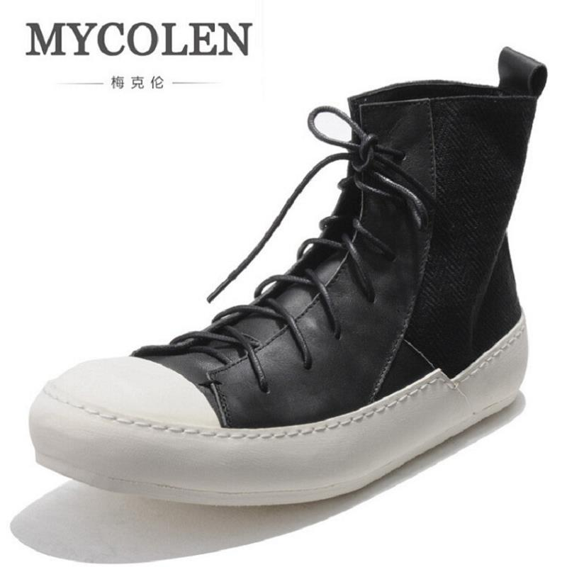 MYCOLEN Luxury Fashion Casual Shoes Men Lace-up High-top Flat Skate Shoes Genuine Leather Classics Round Toe Men Winter Shoes fashion young man red casual shoes men luxury high top toe mens falts british trend flat heel men s loafers shoes