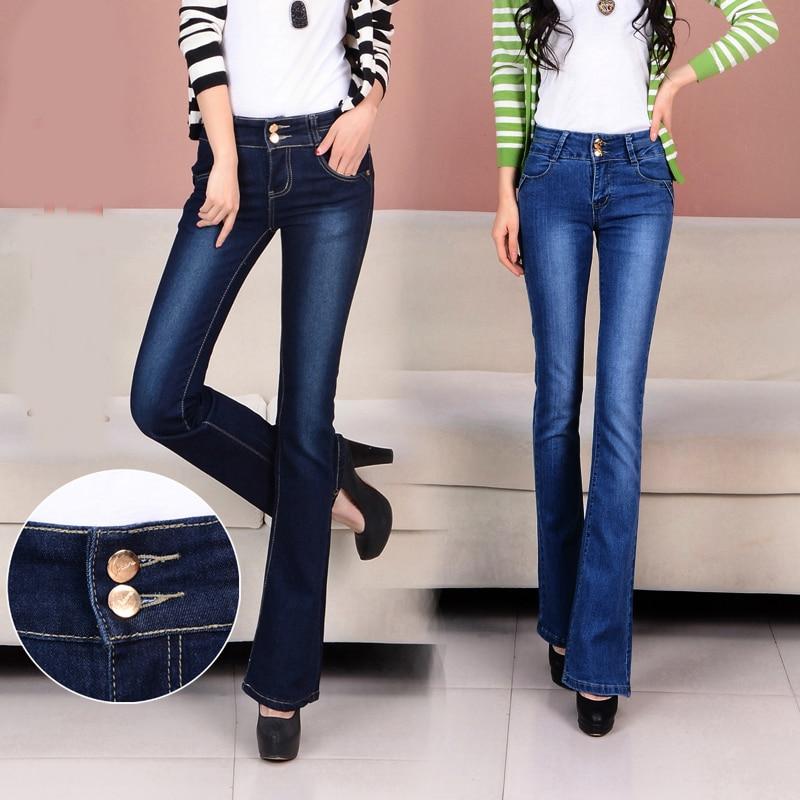 Printemps et automne hiver micro-trompette jeans femme pantalon taille  grande taille stretch Slim large jambe pantalon 672e6cb23ec