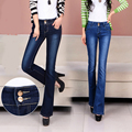 Spring and autumn winter micro-trumpet jeans female trousers waist large size stretch Slim wide leg pants