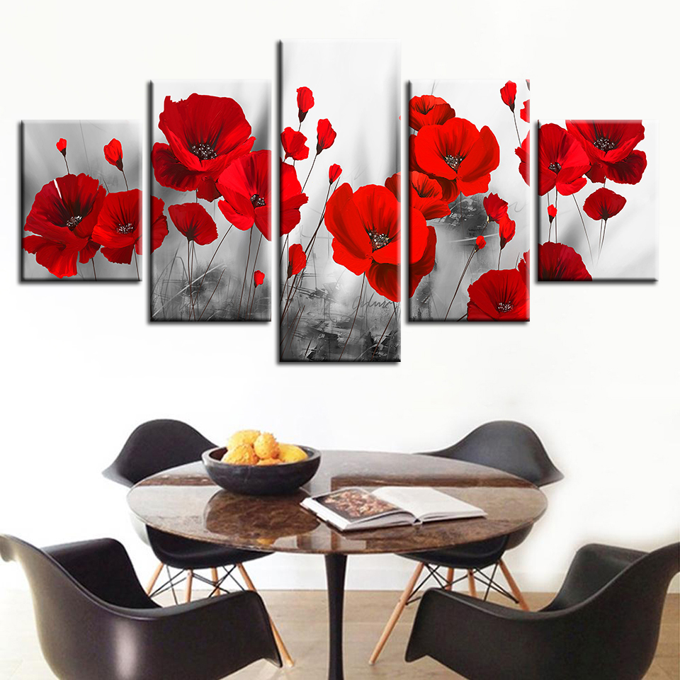 Canvas-Printed-Pictures-Living-Room-Wall-Art-Framework-5-Pieces-Romantic-Poppies-Paintings-Red-Flowers-Poster (1)