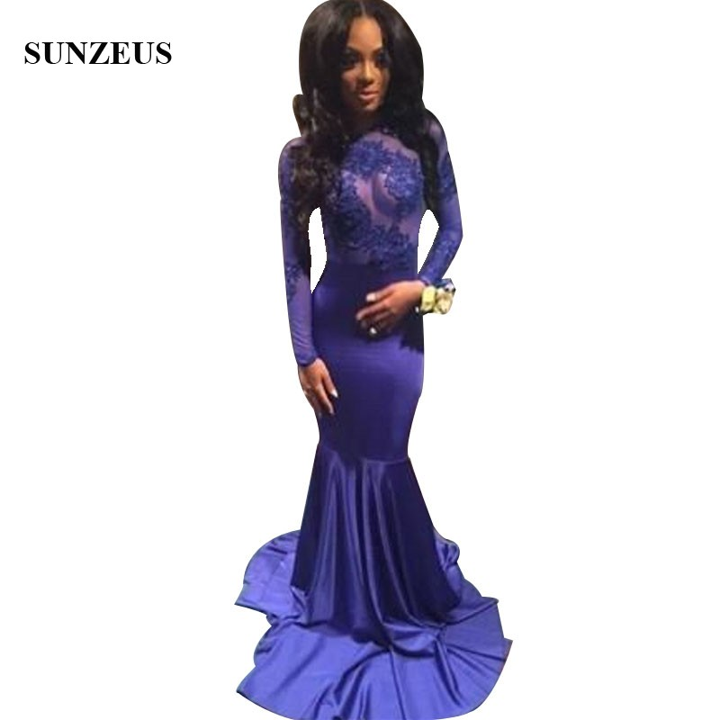 Appliques Illusion Bodice Sexy   Prom     Dresses   Mermaid Royal Blue Long Sleeves Party Gowns Long Black Girls Robe