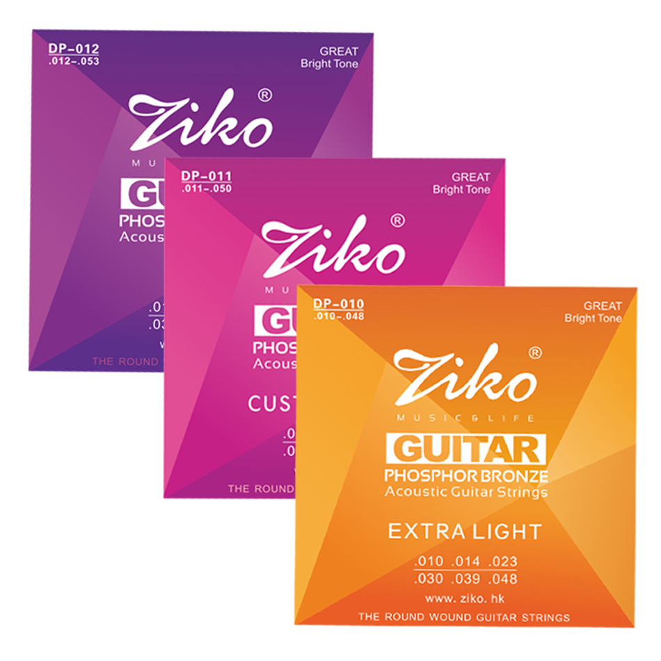ZIKO DP Series 1 Set of Acoustic Guitar Strings 1st-6th 010-048,011- 050,012-053 Inch Hexagon Alloy Core Phosphor Bronze Wound alice classical guitar strings titanium nylon silver plated 85 15 bronze wound 028 0285 inch ac139