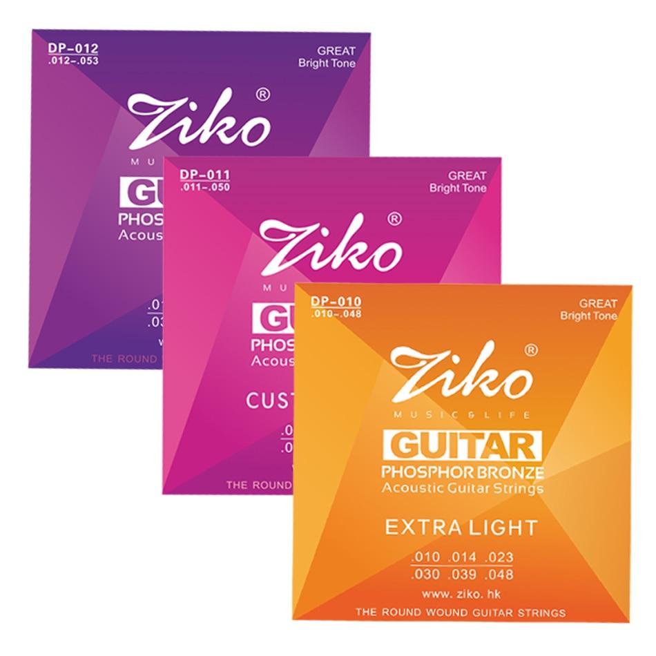 Набор струн для акустической гитары ZIKO DP, 1-6, 010-048011-050012-053 дюйма, шестигранный сердечник из сплава с фосфорной бронзовой обмоткой