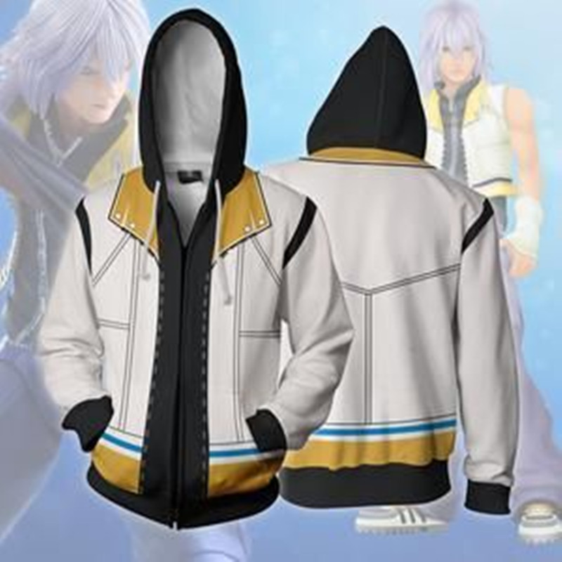 Kingdom Hearts Riku Cosplay Costumes Kingdom Hearts Sora Hoodies 3D printed zip-up hoodies Sweatshirts Cartoon hooded jacket