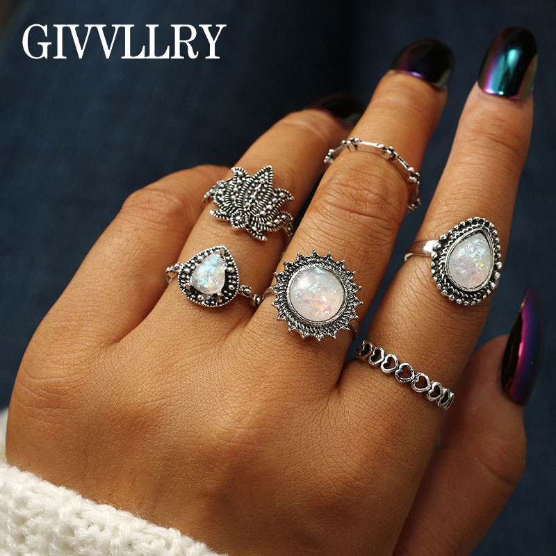GIVVLLRY Elegant Faux Opal Stone Rings Jewelry Vintage Antique Silver Color Geometric Hollow Heart Flower Midi Rings for Women