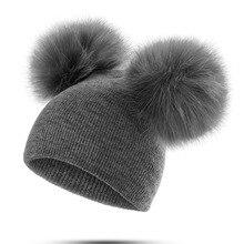 Children Double Pompon Hat For Kids Girls Boys Winter Cap Baby Warm Hat Beanies Baby Knitted Cotton Children Hat Unisex