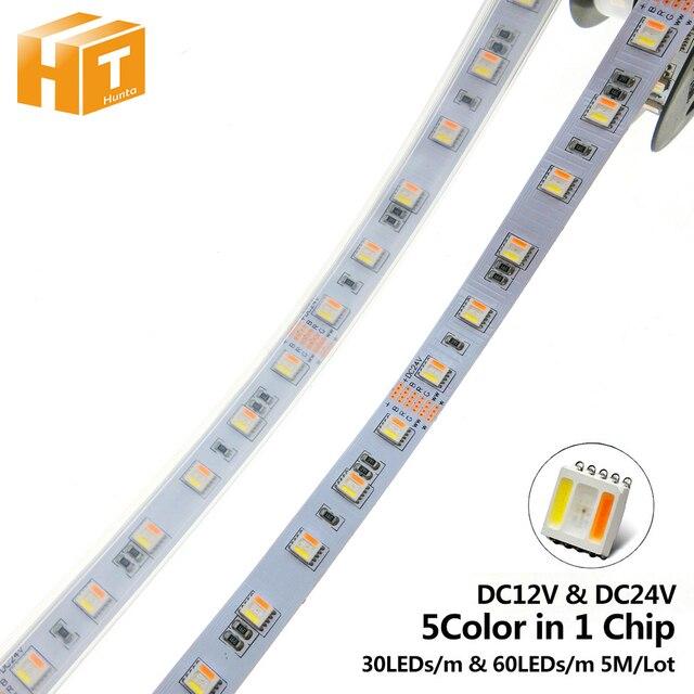 RGBCCT LED bande 5050 12V / 24V 5 couleurs dans 1 puces rvb + WW + CW 60 LED s/m 5 m/lot RGBW LED bande lumineuse 5 m/lot.