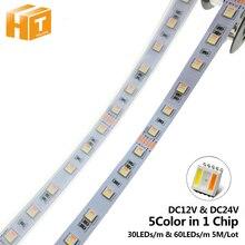 Rgbcct conduziu a tira 5050 12v/24v 5 cor em 1 microplaquetas rgb + ww + cw 60 leds/m 5 m/lote rgbw conduziu a luz de tira 5 m/lote.