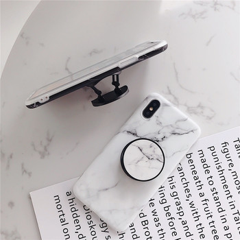 Marble Flexible Stand Holder Case For iPhone XS XS Max X 8 7 6S Plus For Huawei P20 For Samsung S10 Soft IMD Phone Cover 1