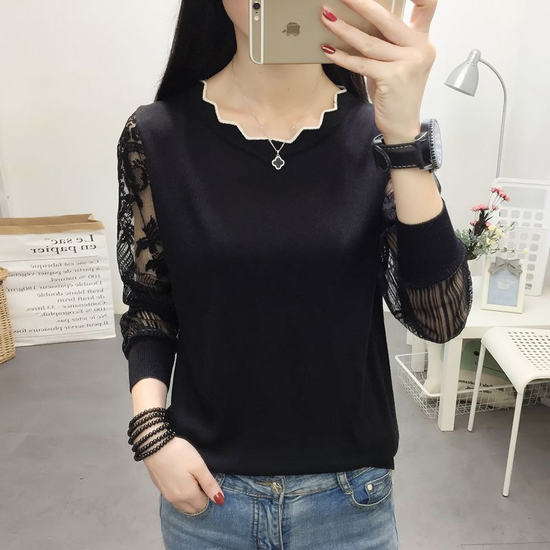 OHCLOTHING 2021 New Lace Sweater female Bottom Blouse Long Sleeve Loose Spring New Thin Knitted Blouse Blouse Trend