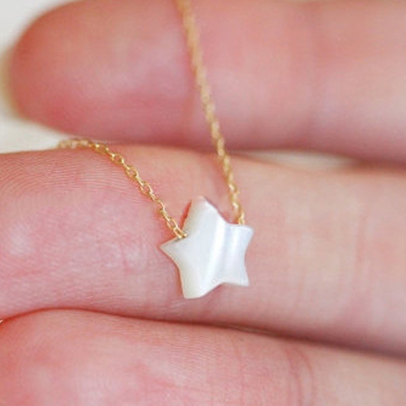 Fashion-Natural-White-Star-Star-Necklace-Jewelry-Women-Necklace-Pendant-On-The-Neck-Colar-XL481