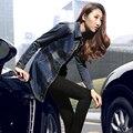 Дамы длинный джинсовые пальто женщин полный рукав длинный джинсовой куртке 2016 весна осень однобортный пиджак джинсовой пальто джинсовой верхняя одежда