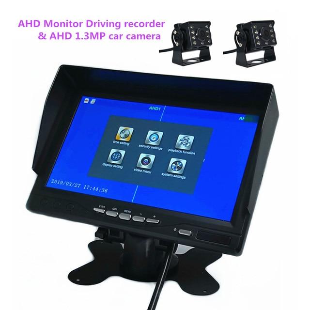7 pulgadas IPS pantalla 1024*600 AHD coche digital monitor grabador DVR 2 pantalla 2 canales grabadora ¡AHD Cámara opcional
