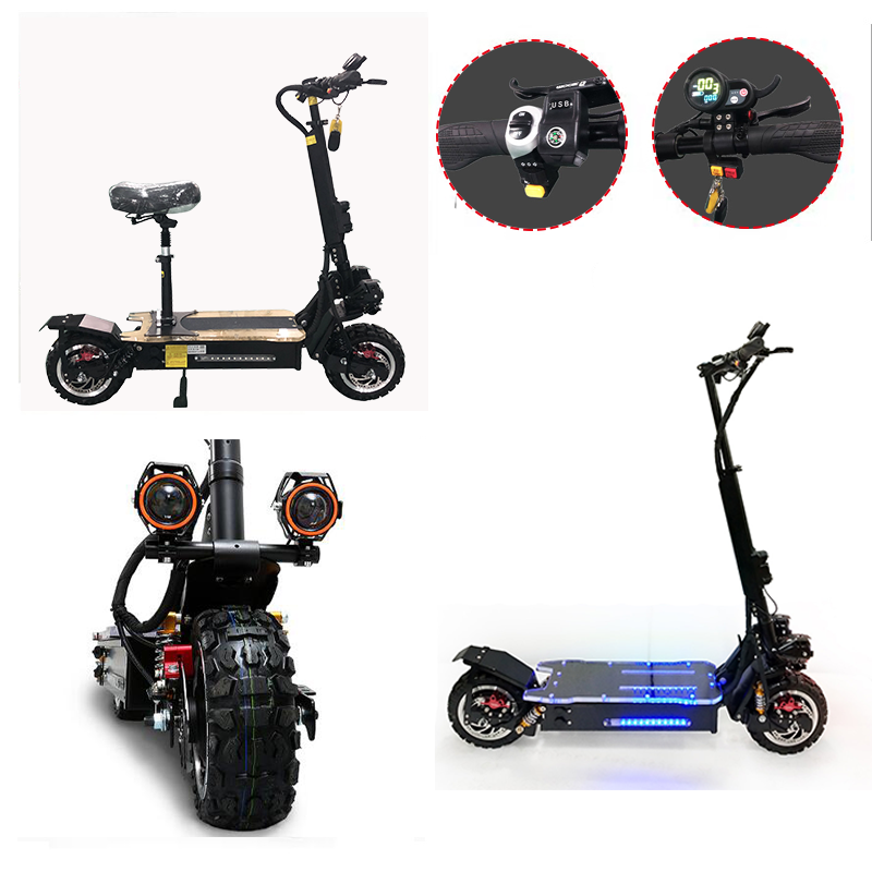 KMH 60V3200W 80 11 polegada Off Road Scooter Elétrico Da Bateria Do Motor Elétrico Adulto kick e dobrar scooter patinete adulto electrico
