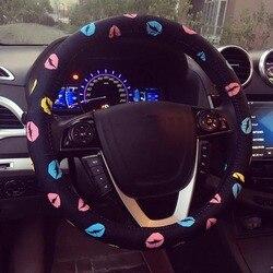 Pokrowiec na kierownicę ze skóry PU pokrowiec na kierownicę samochodową z nadrukiem osłona na kierownicę do samochodu dla dziewczynek i kobiet