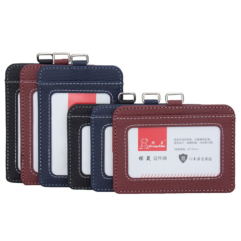 2018 PU leather ID card holders and certificates case for admission cover on license, women card badge holder without lanyard