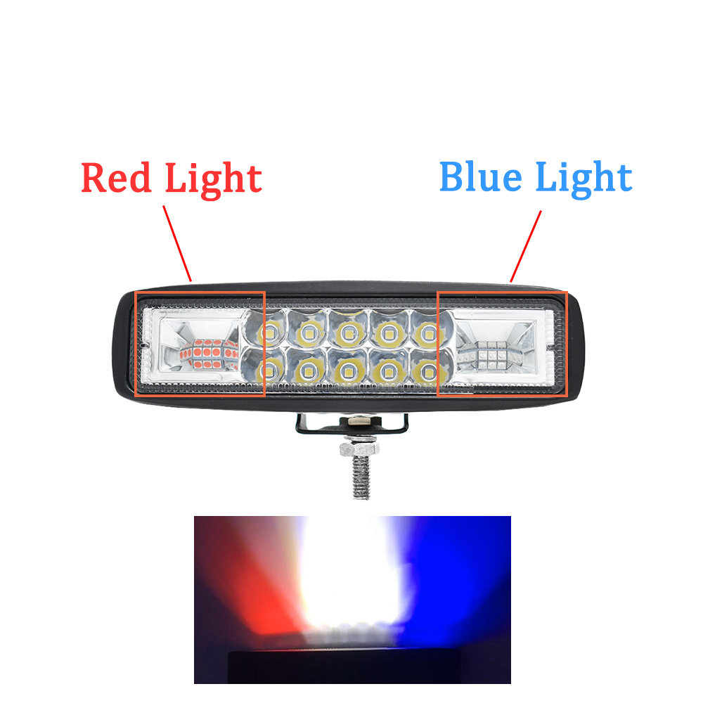 ECAHAYAKU New Led Light Bar 6 quot 48w LED work light pod Combo beam led warning light blue red for Jeep ATV SUV truck boat 4800lm in Light Bar Work Light from Automobiles amp Motorcycles