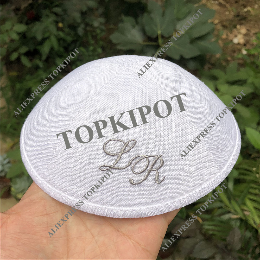white linen kippahs with silver grey color embroidery logo