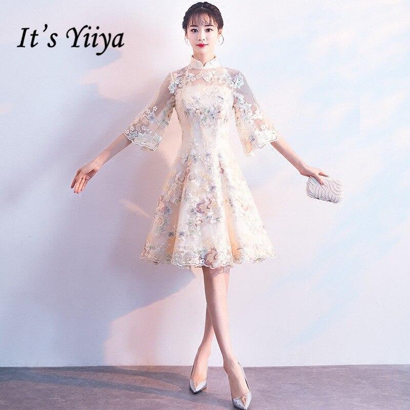 Es der YiiYa Luxus Champagne Half Sleeve Floral Print Spitze Cocktail Kleid Knie-Länge Formalen Kleid Party Kleid MX007