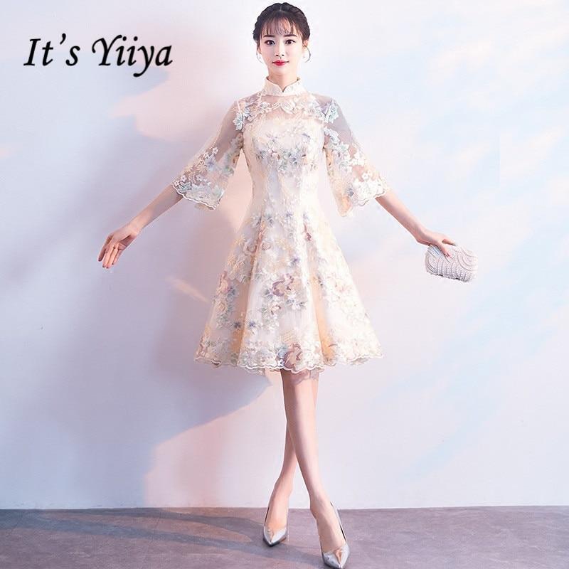 dc1f0911d1b8 It's YiiYa Luxury Champagne Half Sleeve Floral Print Lace Cocktail Dress  Knee-Length Formal Dress. Τύπος αντικειμένου. Φορέματα κοκτέιλ