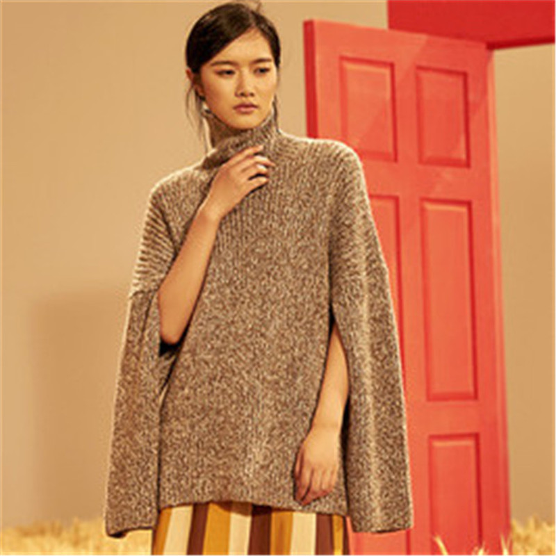 Top Grade 100% Hand Made Pure Cashmere Turtleneck Knit Women Streetwear H-straight Solid Cloak Sweater One&over Size