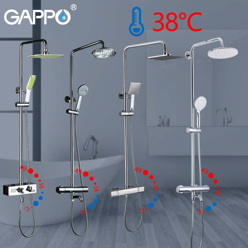 GAPPO Sanitary Ware Suite thermostatic shower bath mixer rain shower set bathtub faucet water mixer waterfall