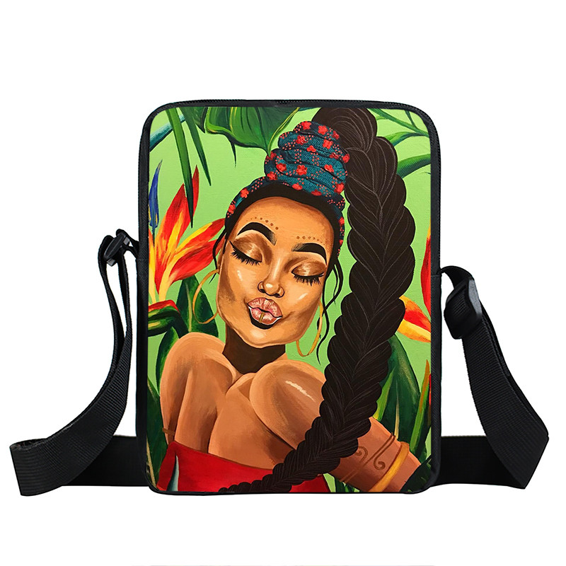 Afro Lady Girl messenger bag Africa Beauty Princess small shoulder bag brown women handbag mini totes teenager crossbody bags 29