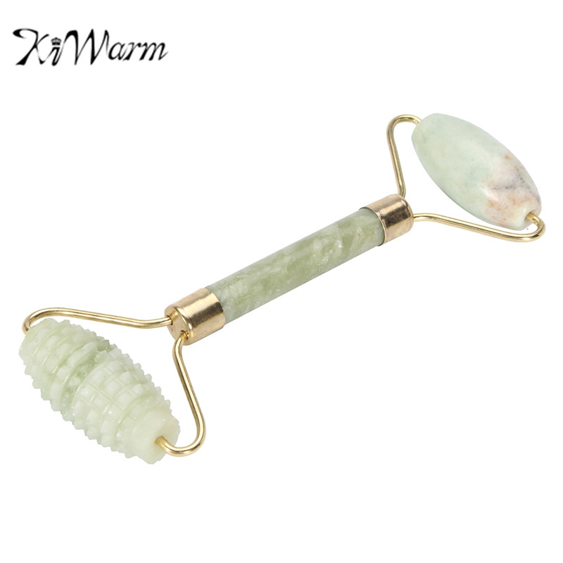 US $3 51 22% OFF|KiWarm Natural Jade Stone Double Head Face Massager Roller  Spa Head Slimming Face Neck Body Relaxation Massager Gemstone Crafts-in
