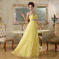 2017 New Elegant One Shouder A-Line Crystals Beadings Long Evening Party Dresses Vestido De Festa Longo