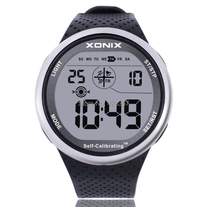 XONIX Мужские Спортивные Часы Цифровой Водонепроницаемый 100 м Chrono Self Calibrating Силиконовый Ремешок Многофункциональный Плавать Открытый Наручные Часы