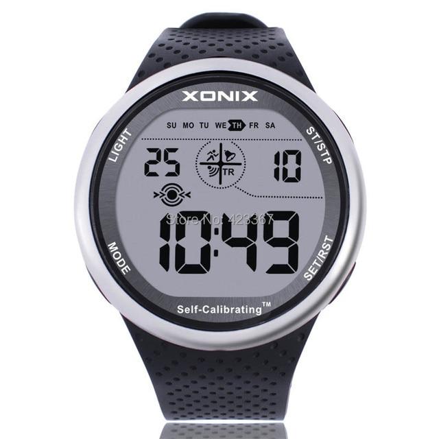 XONIX Mens Sports Watch Digital Waterproof 100m Chrono Self Calibrating Silicone Strap Multifunction Swim Outdoor Wristwatch