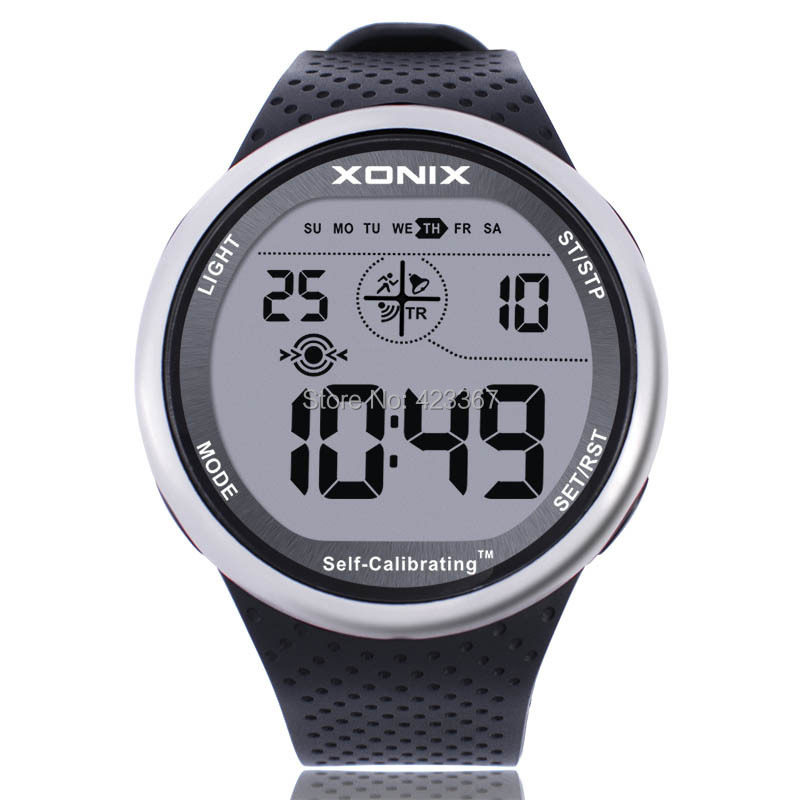 Xonix mens sports watch digital waterproof 100m chrono self calibrating silicone strap for Watches digital
