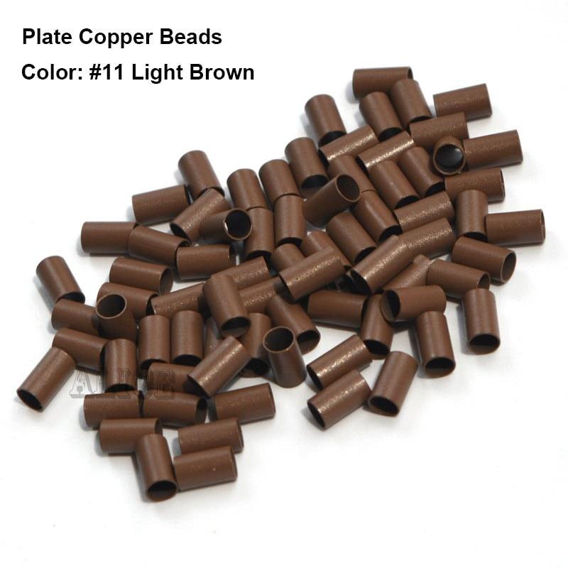 1000 piezas-1 botella 3.4 * 3.0 * 6.0MM Borde de la placa Euro Lock tubos de cobre Micro Anillos engarce perlas para pegar Extensiones de cabello de punta