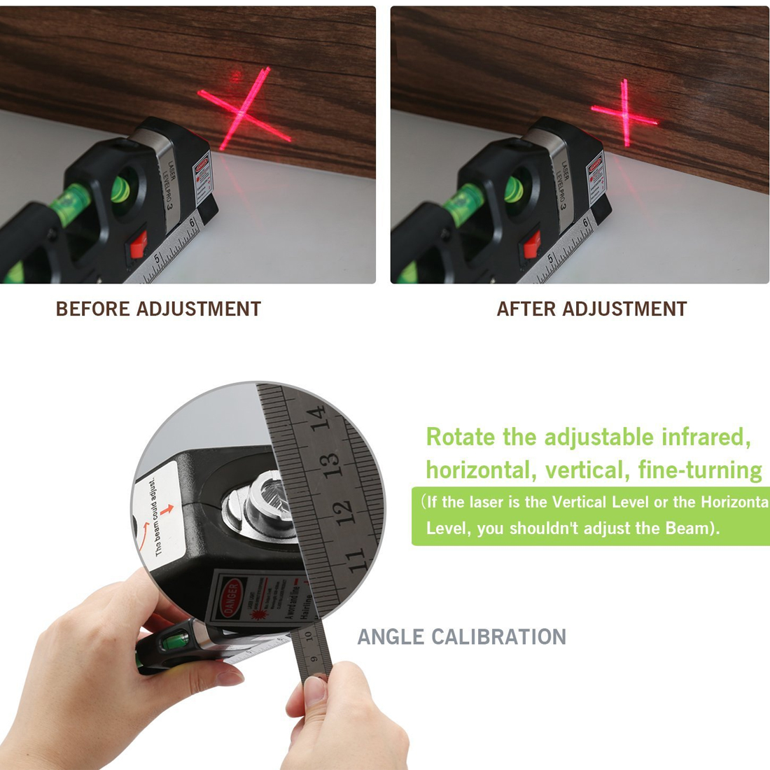 Laser Horizon Vertical Messen 8FT Aligner Standard und Metrischen Herrscher Mehrzweck Messen Level Laser Schwarz