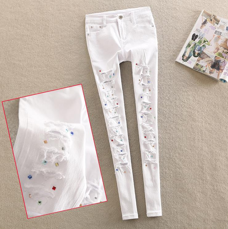 spring new diamond   jeans   female personality white Rhinestone pants hole pencil   jeans   plus size