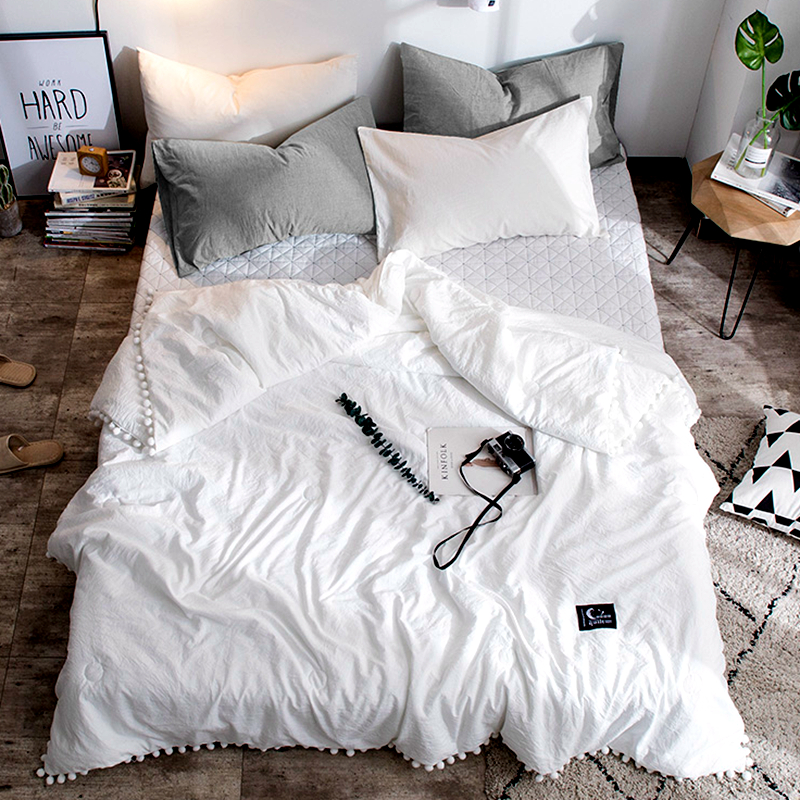 Summer Quilt Solid Color Air Condition Comforter with little white Pompons Thin Throw Blanket many colours bedding free #s(China)